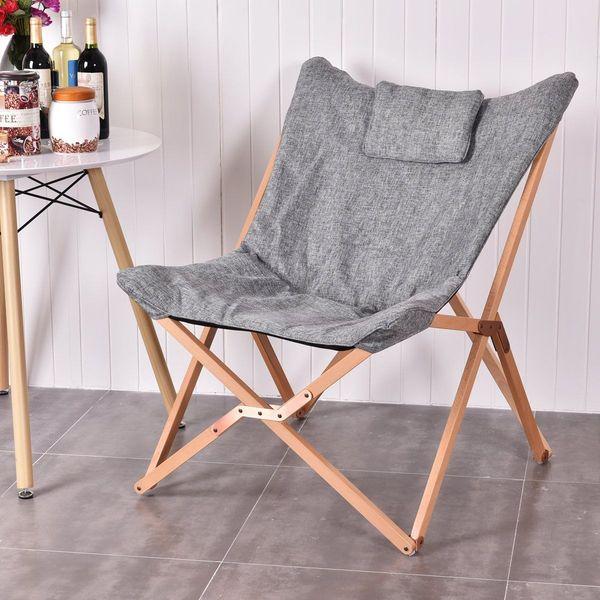 Giantex Folding Butterfly Chair, Gray