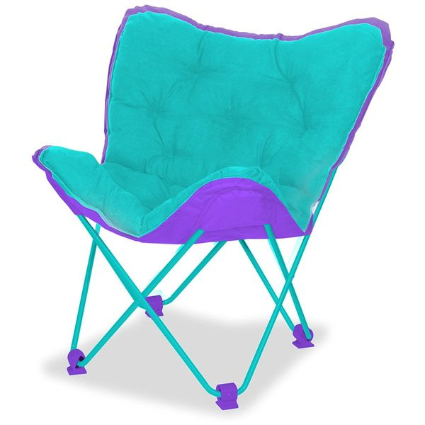 Cocoon Micromink Butterfly Chair, Teal with Purple Accents