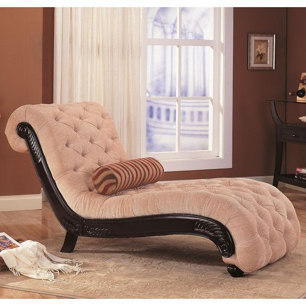 Coaster Chaise Lounge with Tufted Beige Fabric
