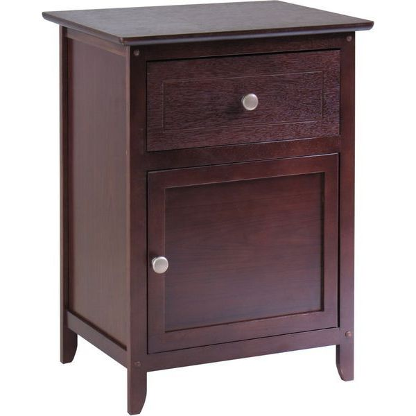 Winsome Wood Night Stand with Drawer and Cabinet for Storage