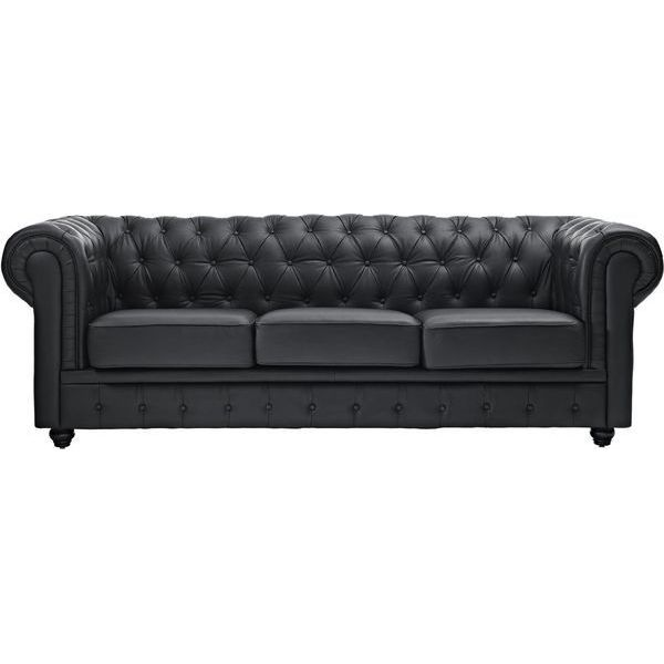 LexMod Chesterfield Sofa in Black Leather