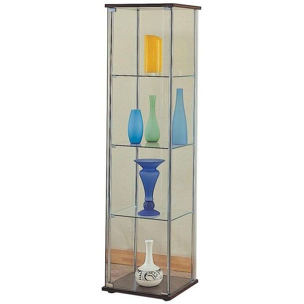 Modern Contemporary Glass Curio Cabinet with Cappuccino Top and Bottom