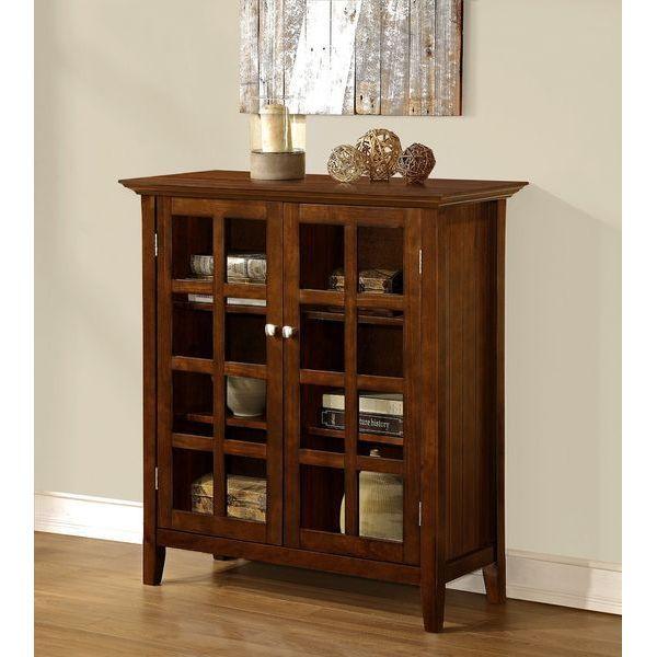 Simpli Home Acadian Medium Storage Cabinet, Rich Tobacco Brown