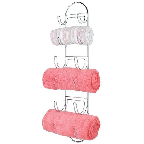 mDesign Wall Mounted Chrome Towel Rack