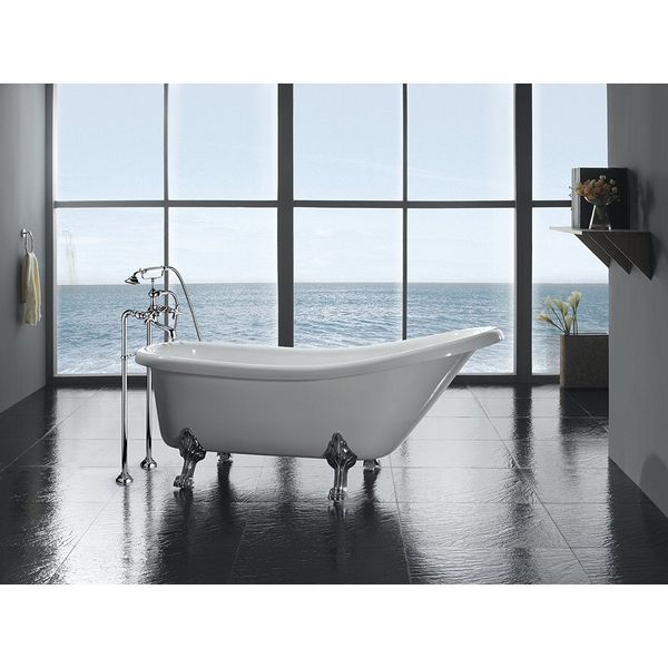 OVE Clawfoot Freestanding Acrylic Bathtub with Freestanding Faucet, Glossy White