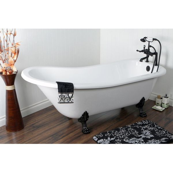 Kingston Brass Aqua Eden Acrylic Tub with Chrome Constantine Lion Feet