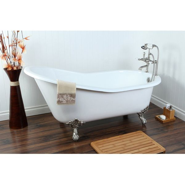 Kingston Brass Aqua Eden Cast Iron Bathtub with Chrome Feet, White