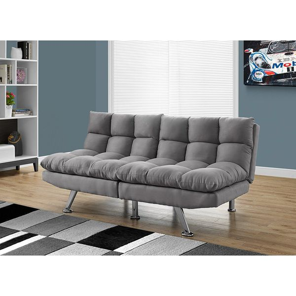 Monarch Specialties Split Back Click Clack Futon, Light Grey