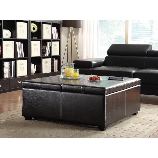 Homelegance Synergy Lift Top Storage Cocktail Ottoman, Dark Brown