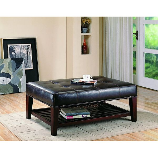 Dark Brown Full Leather Square Cocktail Ottoman