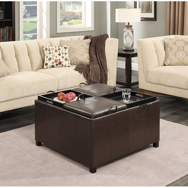 Convenience Concepts Designs-4-Comfort Times Square Ottoman with 4 Tray Tops