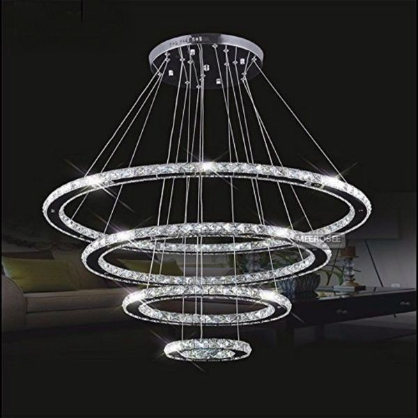 MEEROSEE 4 Light Contemporary Crystal Chandelier
