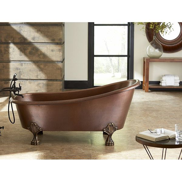 Donnelly Hammered Copper Slipper Clawfoot Tub
