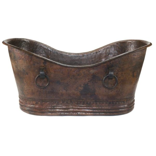 Premier Copper Products Hammered Copper Double Slipper Bathtub with Rings, Oil Rubbed Bronze