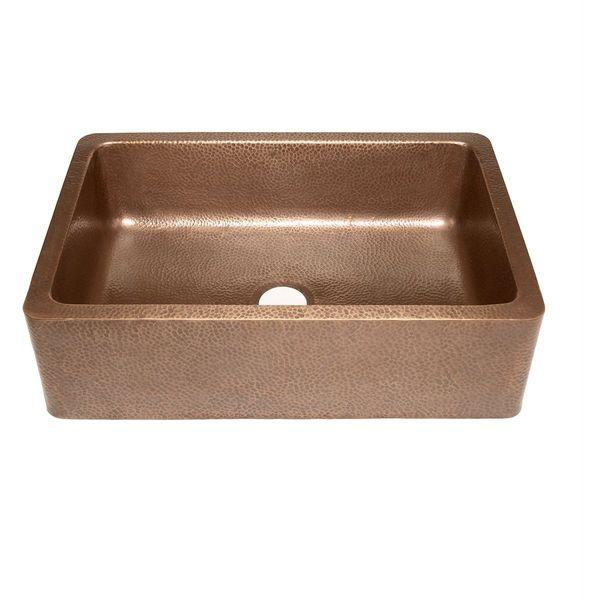 Ecosinks Dual Mount Hammered 0-Hole Bar/Prep Sink, Antique Copper
