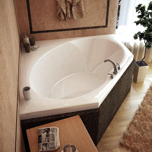 American Standard Scala Right Hand Outlet Corner Bath Tub with Integral Seat, White