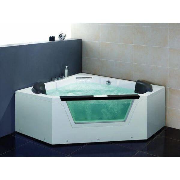 Ariel Platinum Corner Whirlpool Bath Tub, 59 x 59, White