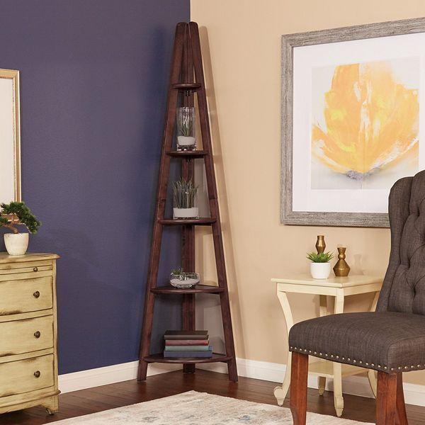 Home Star Espresso Ladder Corner Bookcase