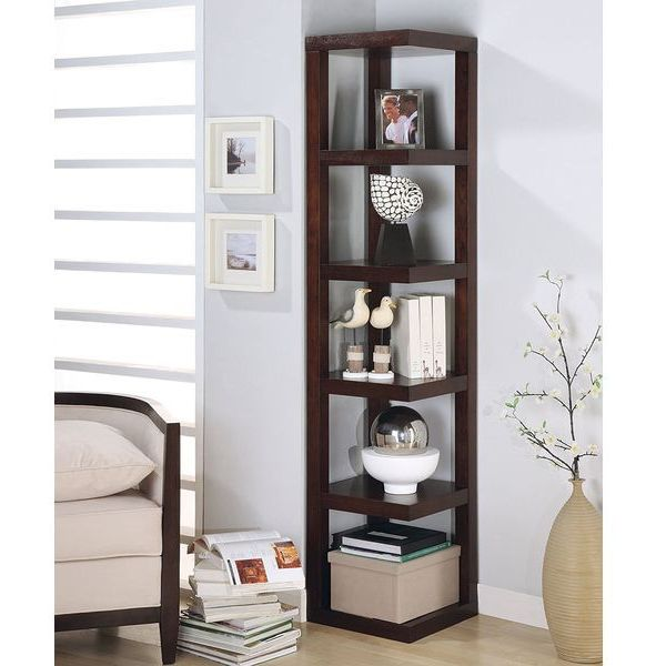 Corner Bookcase Contemporary Style in Cappuccino Finish