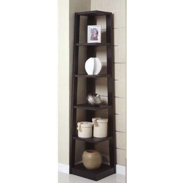 Corner Black Bookshelf by Poundex