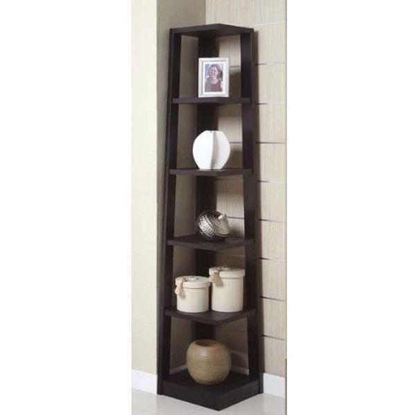 Corner Black Bookshelf by Poundex