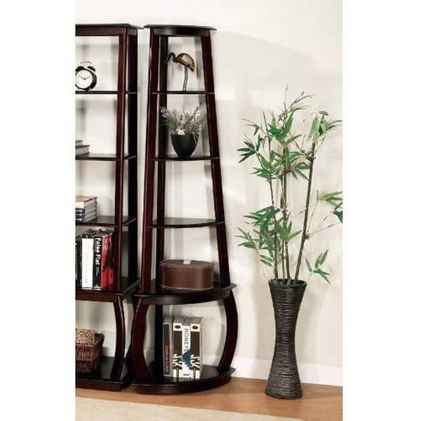 Unique Design Espresso Finish Bookcase Storage Corner Shelf