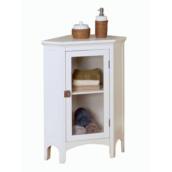 Elegant Home Fashions Madison Avenue Collection Shelved Corner Floor Cabinet, White
