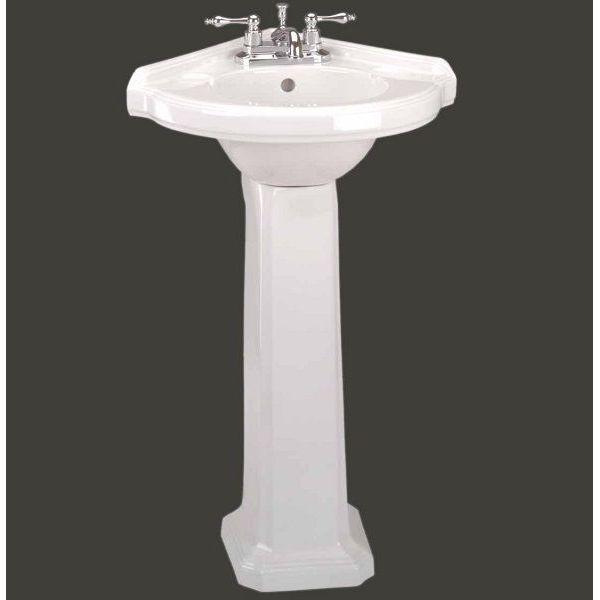Portsmouth Corner Pedestal Sink, White