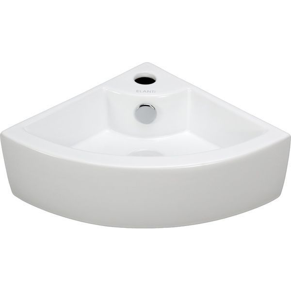 Elite Sinks Porcelain Wall-Mounted Corner Sink, White