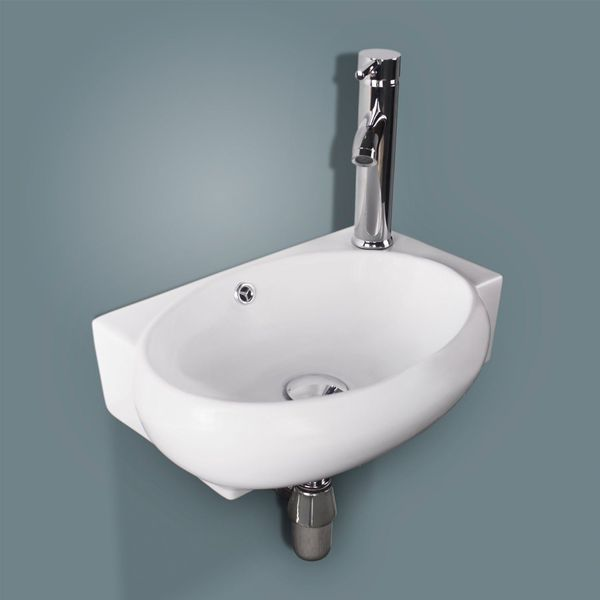Alpha Bathroom Corner Wall Hung Sink Basin