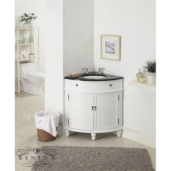 Stufurhome 28-Inch Marcia Single Sink Corner Vanity in Light Brown Finish