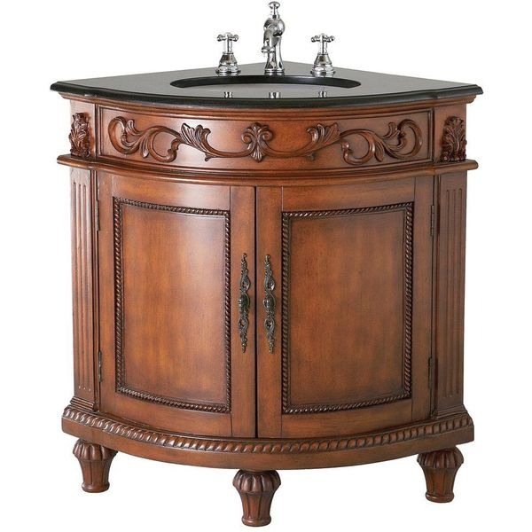 Belle Foret Single Basin Bathroom Corner Vanity, Dark Oak