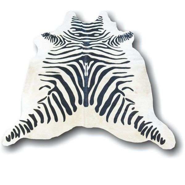 Large Zebra Cowhide with Black Stripes