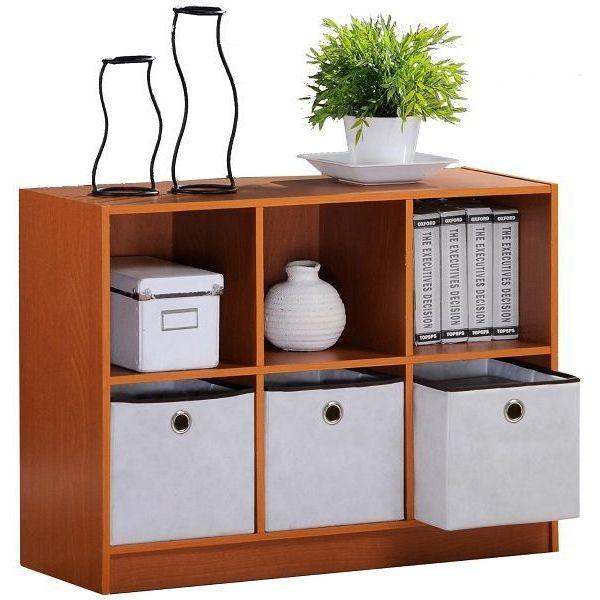 Furinno 3-Tier/Column Multipurpose Cube Storage Shelf with 3 Bin-Type Drawers