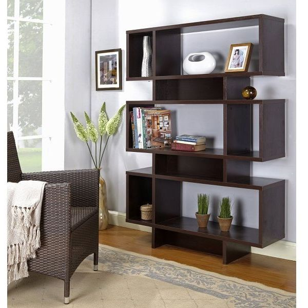 Espresso Finish Wood Cube Bookcase Display Cabinet