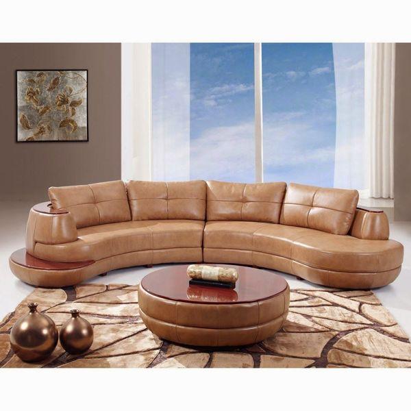 Contemporary Furniture Black Leather Long Curved Sofa
