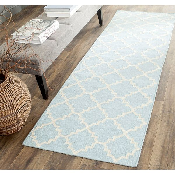 Checked Light Green and Ivory Dhurrie Rug