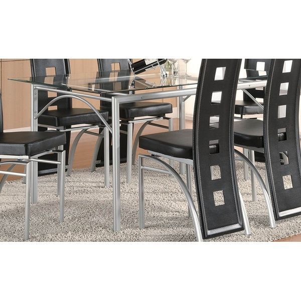 Coaster Rectangular Dining Table with Glass Top, Silver Finish