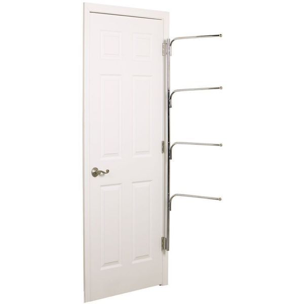 Hinge-It Clutter-Buster Behind-The-Door Valet Chrome - Household Essentials