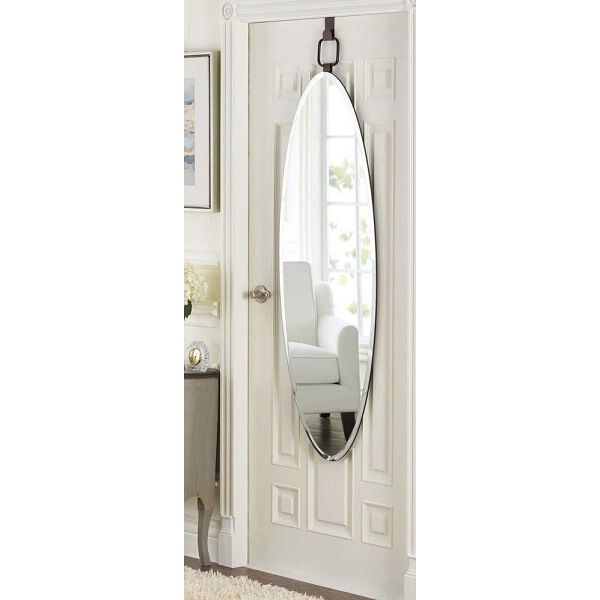Door Solutions Oval 18-Inch x 54-Inch Over-the-Door Mirror in Bronze