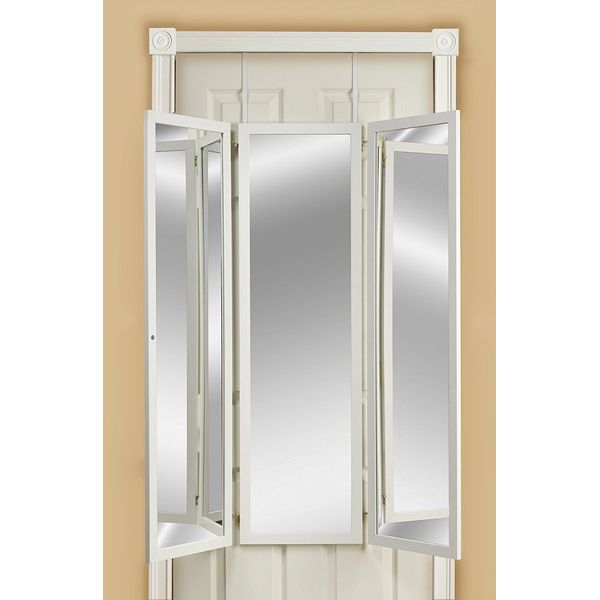 Mirrotek Triple View Over the Door Mirror, White
