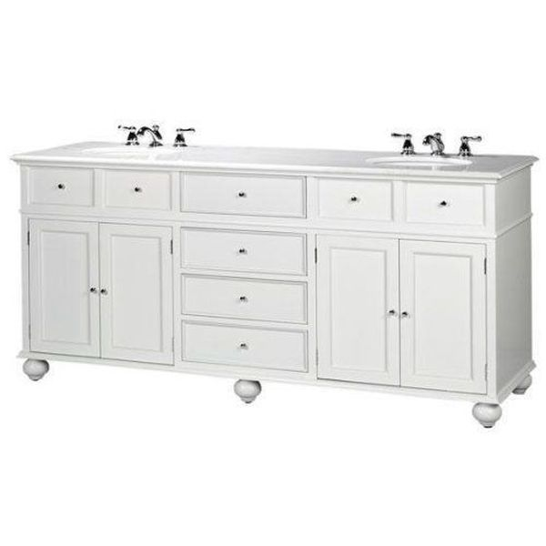 Hampton Bay Double Sink Vanity with Granite Top, White