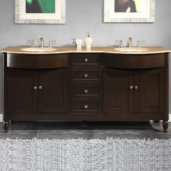 Silkroad Exclusive Stone Top Double Sink Bathroom Vanity with Furniture Bath Cabinet, 72-Inch