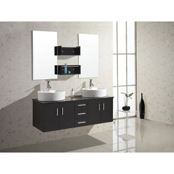 Virtu USA Enya 60-Inch Wall-Mounted Double Sink Bathroom Vanity with Ceramic Basins, Chrome Faucets, Espresso Finish