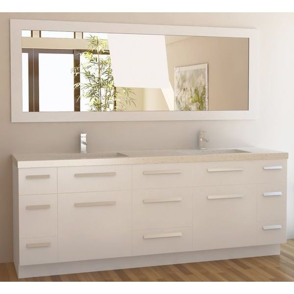 Design Element Moscony Double Sink Vanity Set with White Finish, 84-Inch