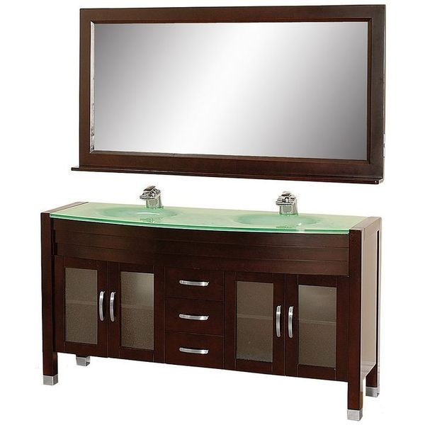 Wyndham Collection Daytona 63 inch Double Bathroom Vanity in Espresso with Green Glass Top with Green Integral Sinks
