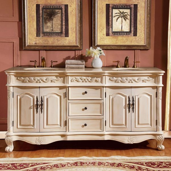 Silkroad Exclusive Marble Stone Top Double Sink Bathroom Vanity with Cabinet, 72-Inch