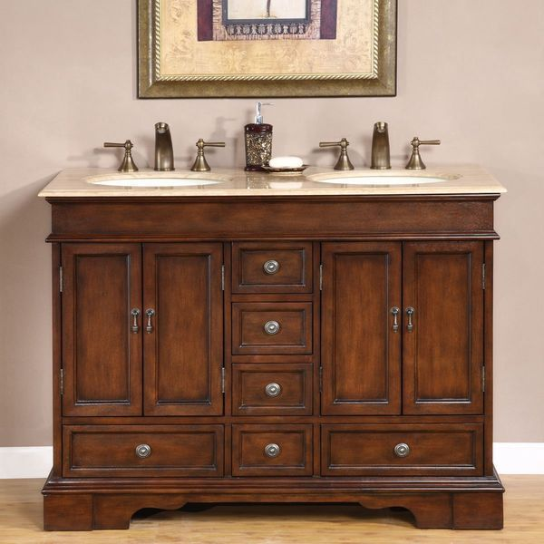 Silkroad Exclusive Baltic Brown Granite Top Double Sink Bathroom Vanity with Cabinet, 48-Inch