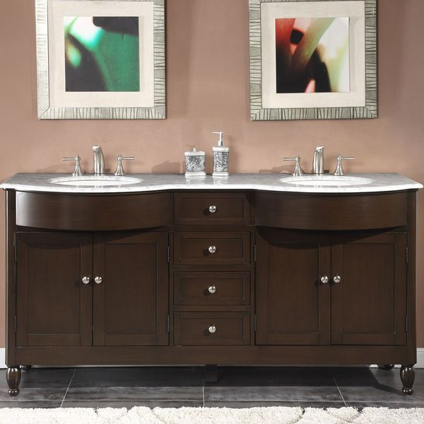 Silkroad Exclusive Marble Top Double Sink Bathroom Vanity with Dark Walnut Finish Cabinet, 72-Inch