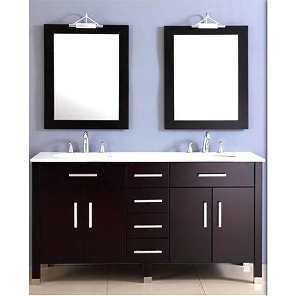 72-Inch Espresso Double Basin Sink Bathroom Vanity Set